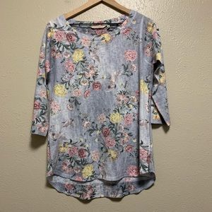 Soft Surroundings floral 3/4 sleeve shirt
